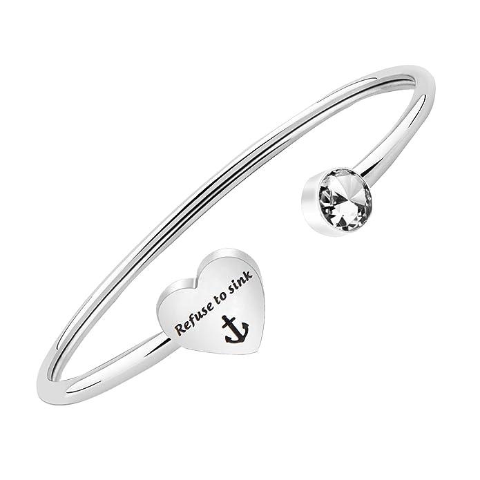 Amazon Com Pliti Refuse To Sink Anchor Symbol Jewelry Inspirational