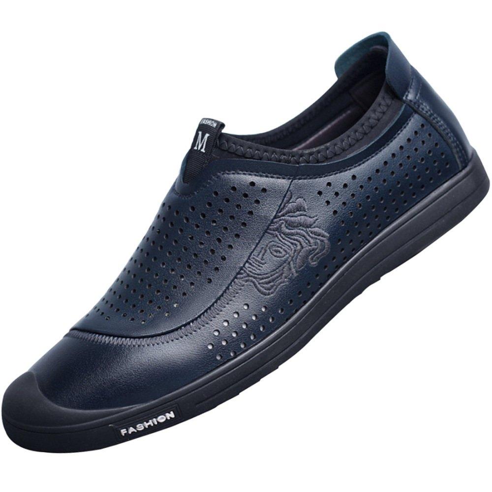 MYXUA Sandalias De Cuero De Los Hombres Zapatos Casuales Zapatos De Conducción De Fondo Suave Moda Transpirable Hueco 43EU/10US|4