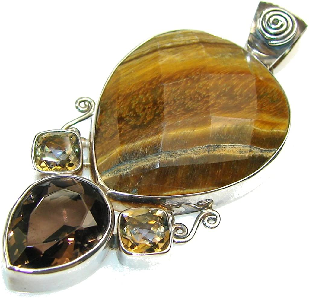 Tigers Eye Women 925 Sterling Silver Pendant FREE GIFT BOX
