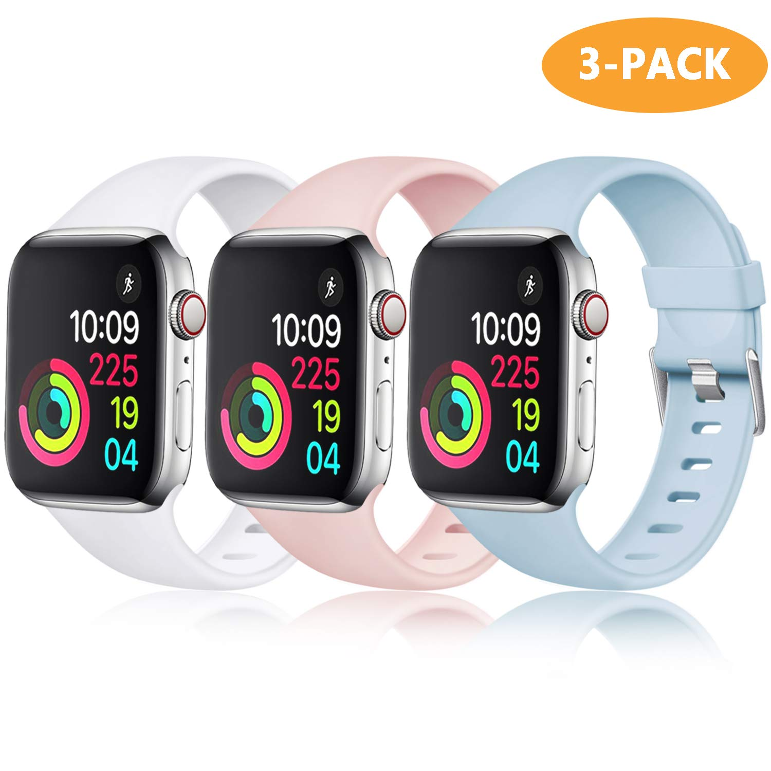 Laffav Compatible with Apple Watch Band 44mm 42mm for Women Men, Turquoise, White, Pink Sand, 3 Pack, M/L by Laffav