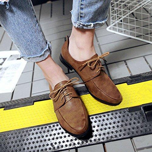Charm Foot Mujeres Con Cordones Zapatos Oxford De Tacón Bajo Marrón Amarillento