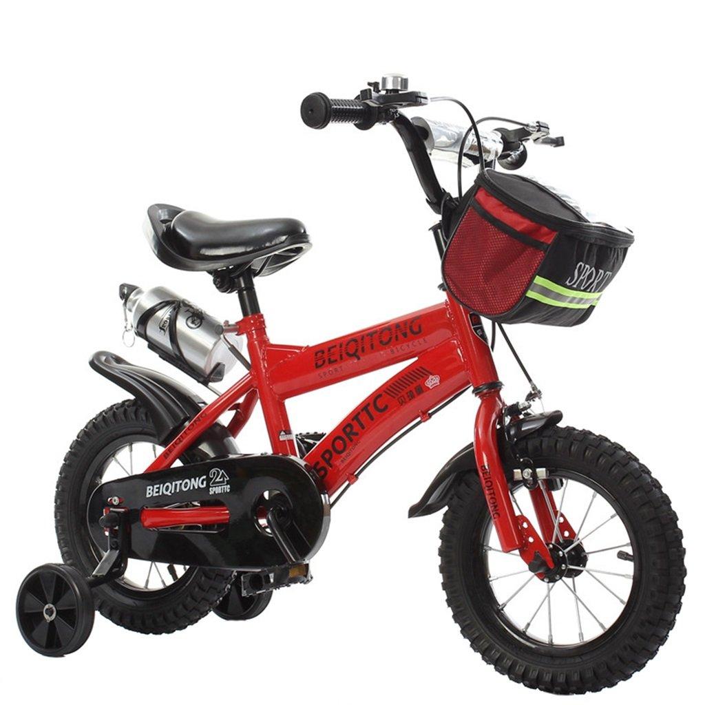 KANGR-子ども用自転車 子供用自転車適切な2-3-6-8男の子と女の子子供用玩具屋外用マウンテンバイクハンドルバーとサドルはトレーニングホイールで調節可能な高さにできますウォーターボトルとホルダー-12 / 14/16/18インチ ( 色 : 赤 , サイズ さいず : 16 inches ) B07BTW3TDZ 16 inches|赤 赤 16 inches