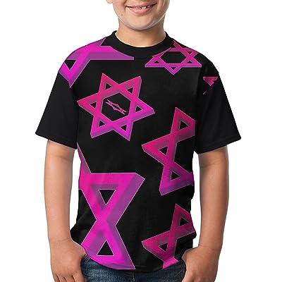 Pentagram Symbol Young Unisex Tshirt Pattern Short Sleeve Raglan Tops