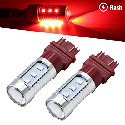 Syneticusa 7443 Red LED Stop Brake Flash Strobe Rear Alert Safety Warning 12-LED Light Bulbs: Automotive