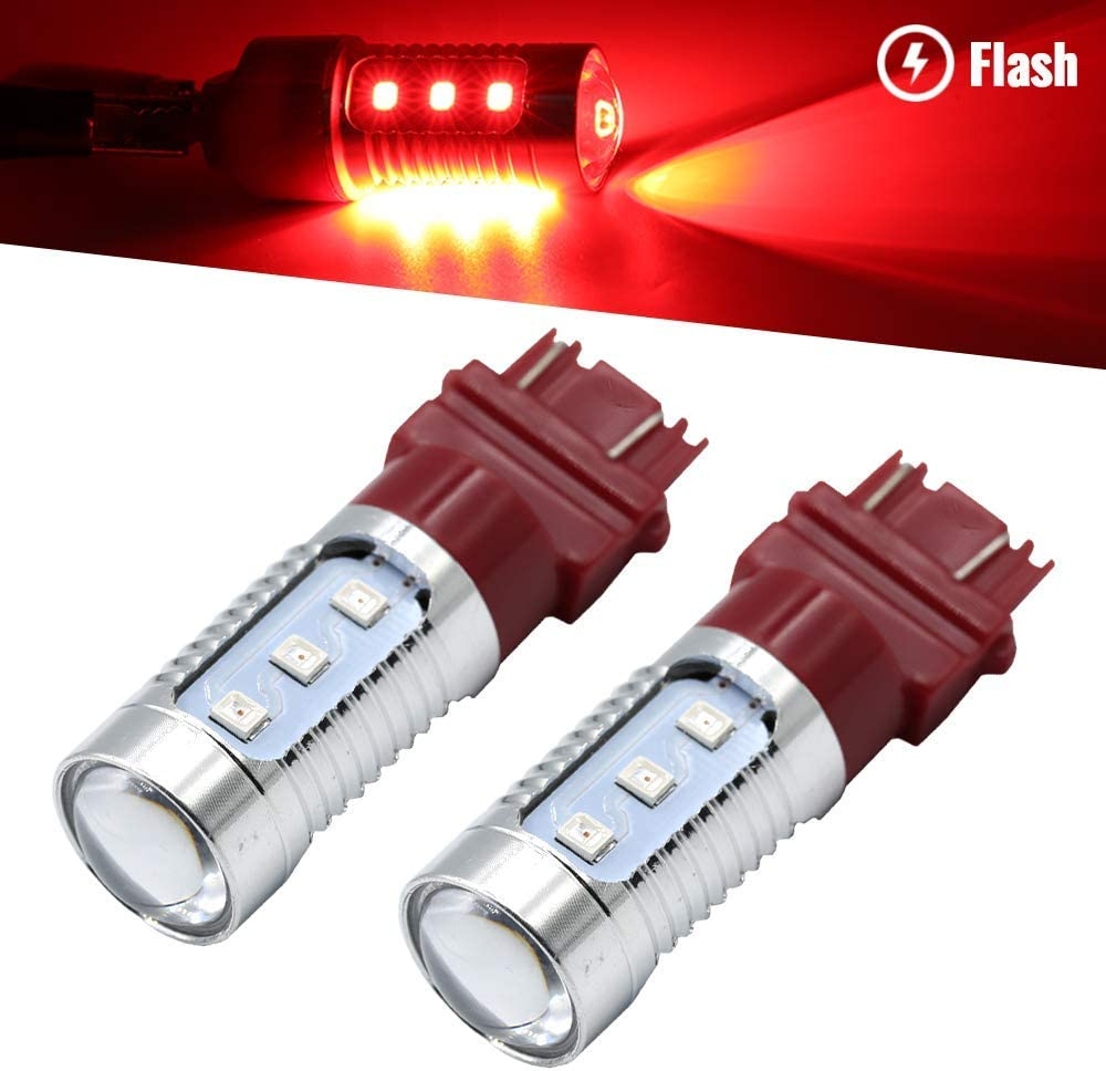 Syneticusa 3157 Red LED Stop Brake Flash Strobe Rear Alert Safety Warning 12-LED Light Bulbs