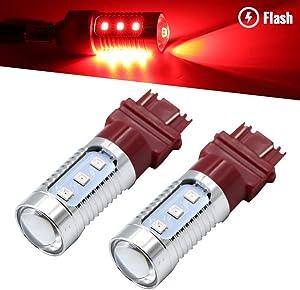 Syneticusa 7443 Red LED Stop Brake Flash Strobe Rear Alert Safety Warning 12-LED Light Bulbs