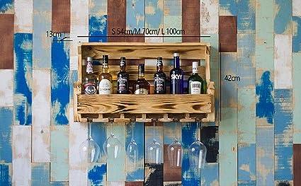 KFDQ Estante de Vino para Bar, Colgante Portavasos al revés, Mueble Estantes para Vino