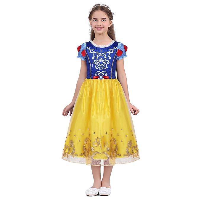 YiZYiF Disfraz Niña Vestido de Princesa Bebé Niña Vestido de Fiesta Carnaval Actuación Ceremonia Cosplay Amarillo