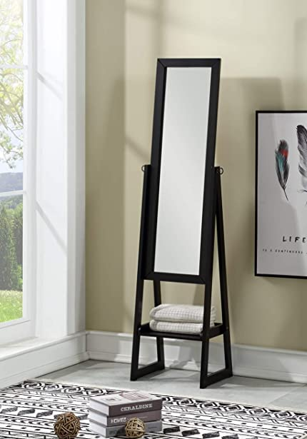eHomeProducts Solid Wood Cheval Floor Standing Tilting Mirror with Bottom Shelf, Black Finish