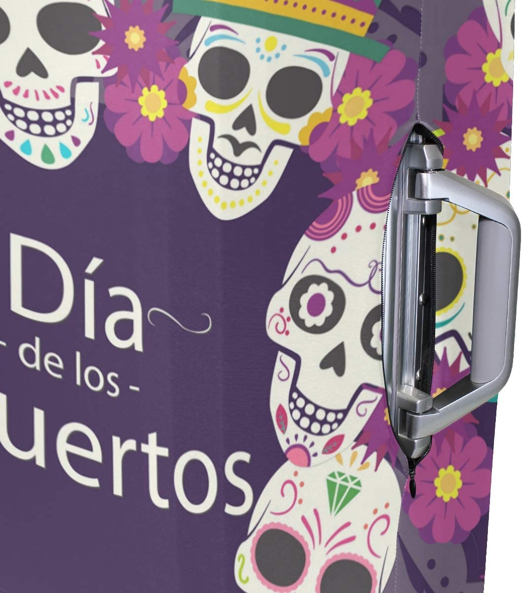 FOLPPLY Day Of The Dead Sugar Skull Luggage Cover Baggage Suitcase Travel Protector Fit for 18-32 Inch