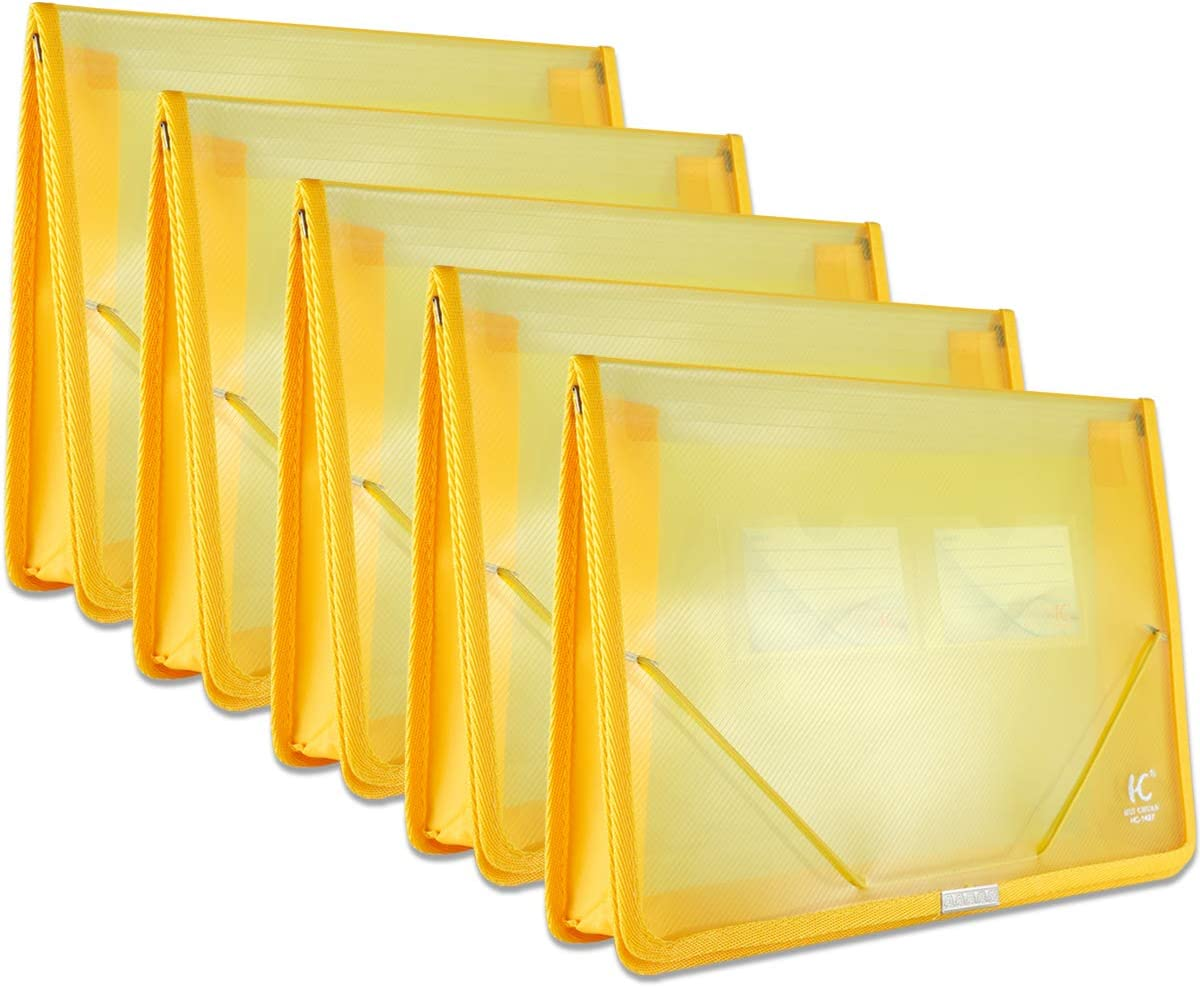 A4 Plastic Wallet File Folders, Expandable Poly Envelope File Wallet Document Folder with Elastic Cord Closure and Card Slot, Waterproof Office Home School File Organization (Yellow, 5 Pack)