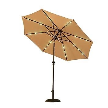Outsunny 8.5u0027 Solar LED Market Patio Umbrella (Beige)