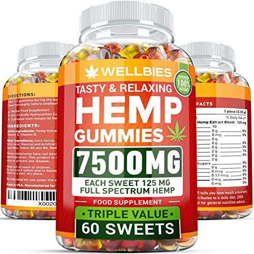 (Premium Hemp Gummies – Natural Hemp - Made in USA – King Size 7500MG – Boost Memory Function, Improved Sleep, Support Good Mood – Fast Results - Rich in Vitamins B, E, Omega 3, 6, 9)