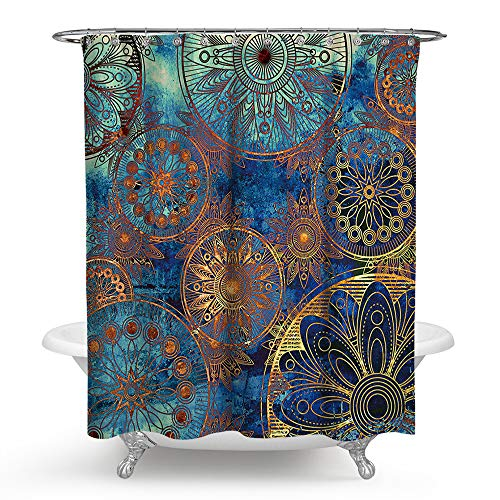PHNAM Mandala Shower Curtain with Hooks 72x72 Inches Extra Long Waterproof Decoration Polyester Cloth Bath Curtains Sets for Bathroom, Bathtub (F) (Orange And Purple Curtains)