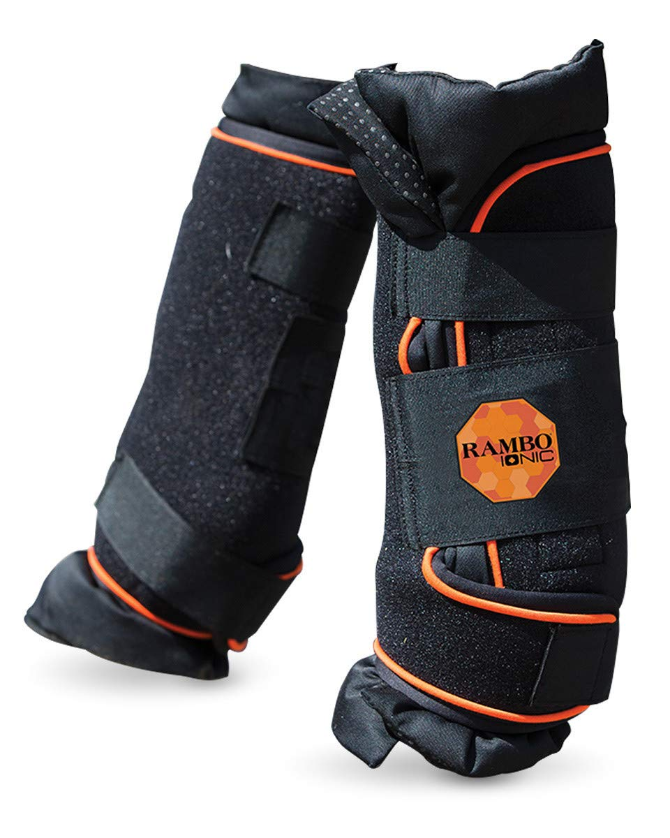 Black orange Full Size Black orange Full Size Rambo Ionic Therapy Horse Boot Full Size Black orange