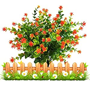 LUCKY SNAIL Artificial Flowers, Fake Outdoor UV Resistant Boxwood Shrubs Plants, Lifelike Plastic Flowers for Indoor Outdoors Home Office Garden Wedding Sidewalk Trim Decor, 4 Pcs(Orange) 7
