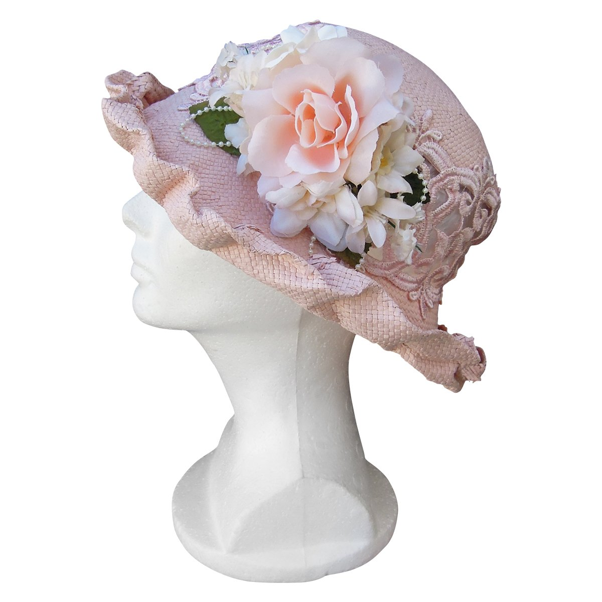 Edwardian Hats, Titanic Hats, Tea Party Hats  Lace Straw Cutaway Hat Narrow Brim Ladies Cloche Church $45.00 AT vintagedancer.com