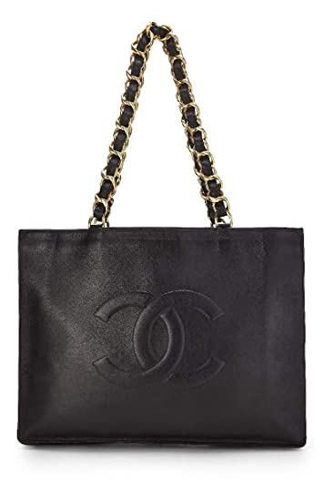 f6b40d402d24 Amazon.com: CHANEL Black Lambskin Flat Chain Tote (Pre-Owned): Shoes