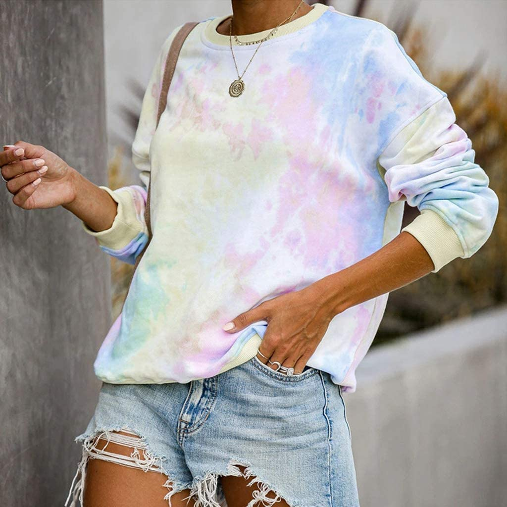 Pullover Tops Casual Loose Rib Trim Streetwear Xiuinserty Sweatshirt Woman Crew Neck Long Sleeve Sweatshirt Tie-Dye Rainbow Colorful Graffiti Printed