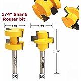 2Pcs Tongue & Groove Huge Crown Molding Router Bit 1/4'' Shank Wood Milling Cutter