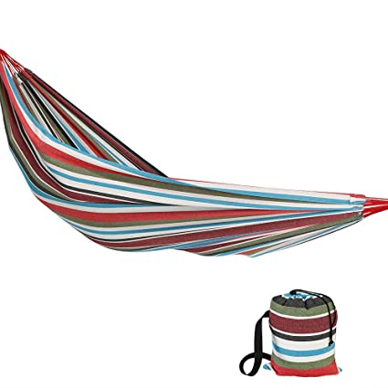 Sunnydaze Brazilian Double Hammock Extra Large, 2 Person Portable Woven Bed with Carrying Bag - for Indoor Or Outdoor Patio, Backyard, and Porch (Cool Breeze)