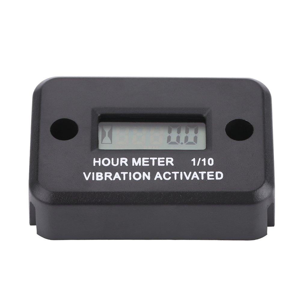 Black Digital Vibration Hour Meter Gauge Vibration Hour Meter Engine Hour Meter for All Vibrating Machine Motorcycle ATV Boat Marine
