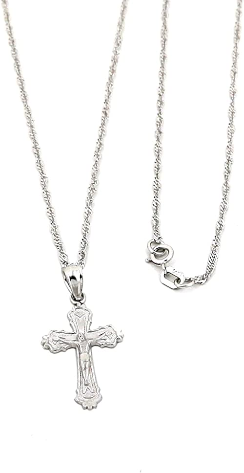 White Gold colour Chain Silver Necklace Cross Crucifix Pendant Crystal Gift