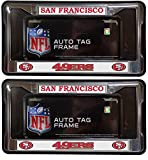 49ers license plate frame chrome - San Francisco 49ers Official NFL (1 Front, 1 Rear ) Chrome License Plate Frame