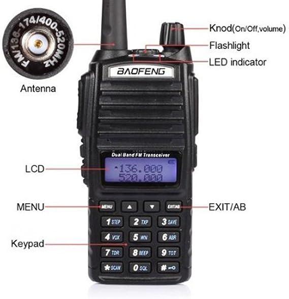 BAOFENG UV82 walkie Talkie Mayor Radio de Dos vías UV-82 Portable jamón Doble Banda VHF UHF Familia Receptor portátil Hotel Centro Comercial: Amazon.es: Deportes y aire libre