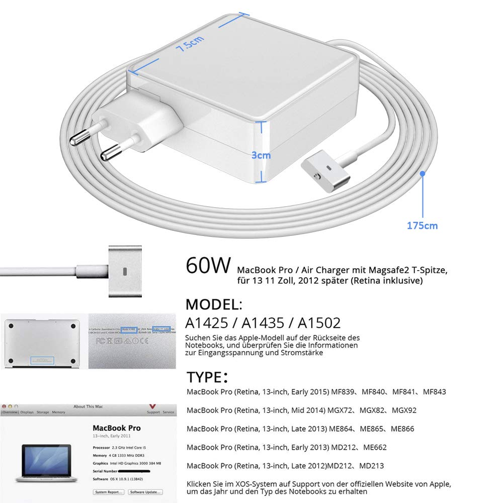 Cargador MacBook Pro, 60W MagSafe 2 Adaptador de Corriente T-Forme para Apple MacBook Pro/Air 13 Pulgadas Retina Display (de Finales de 2012) ...