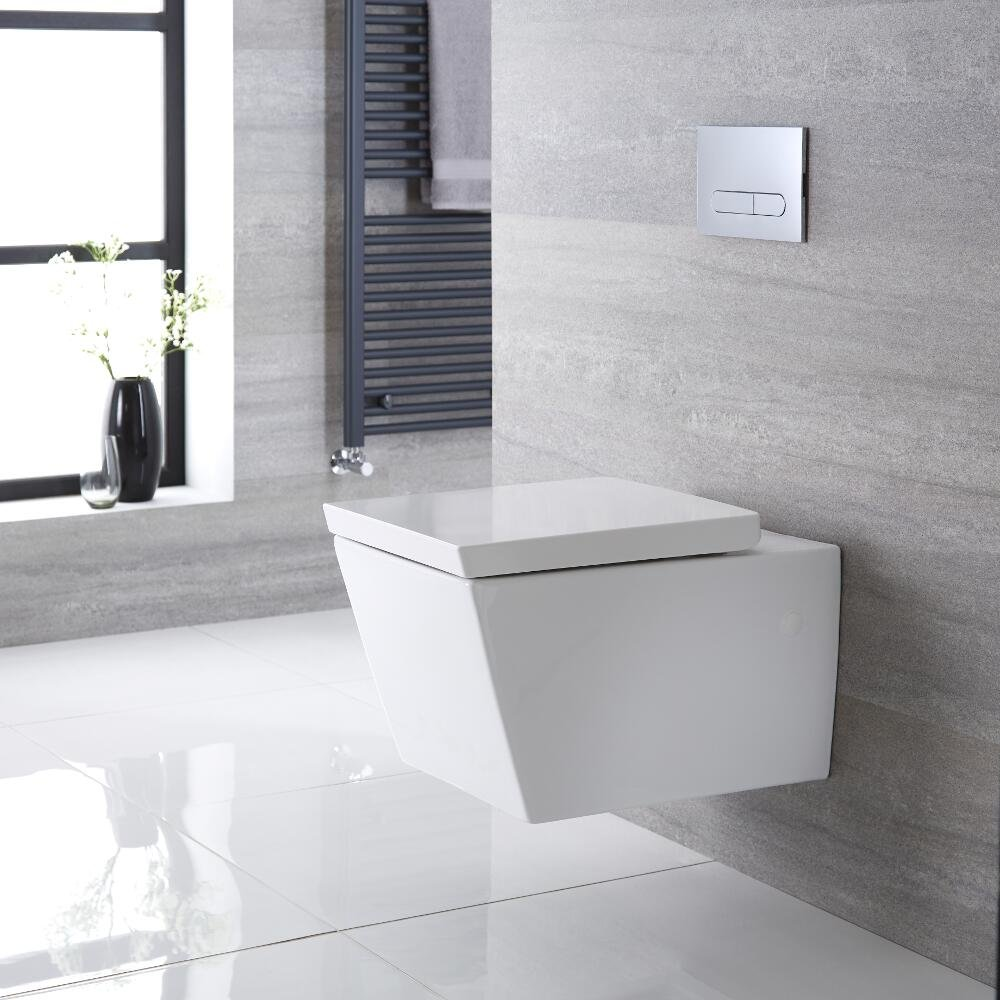 360 x 350 x 555 mm Hudson Reed Halwell Sanitario WC Quadrato Sospeso con Sedile Copri Water Soft-Close