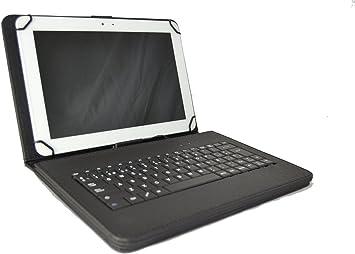 Funda con Teclado QWERTY en español (Incluye Letra Ñ) para Tablet Bq Edison 3 Quad Core 10.1