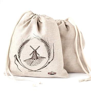 Pan bolsas de lino natural, 2 unidades, 30x40cm ideal para pan casero, sin blanquear, reutilizable,de almacenamiento de alimentos almacenamiento para ...