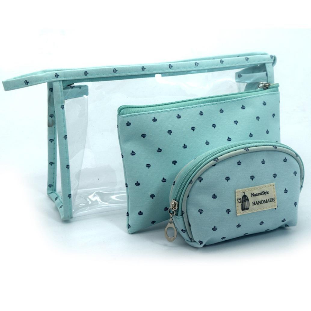 新しい3pcs Cosmetic Toiletry Travel Washメイクアップバッグホルダーポーチキットセットバッグ、nacome ブルー  ブルー B07414TQ5S
