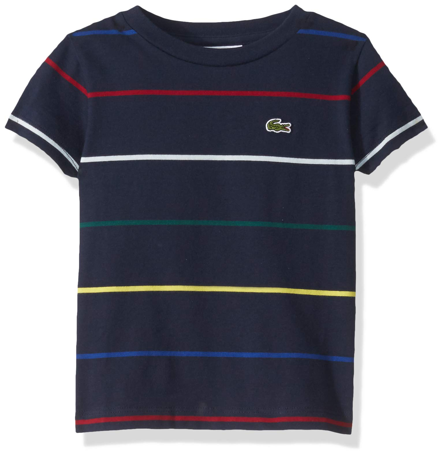 Lacoste Toddler BOY Thin Multicolor Stripes TEE Shirt, Navy Blue/Multi, 3YR by Lacoste