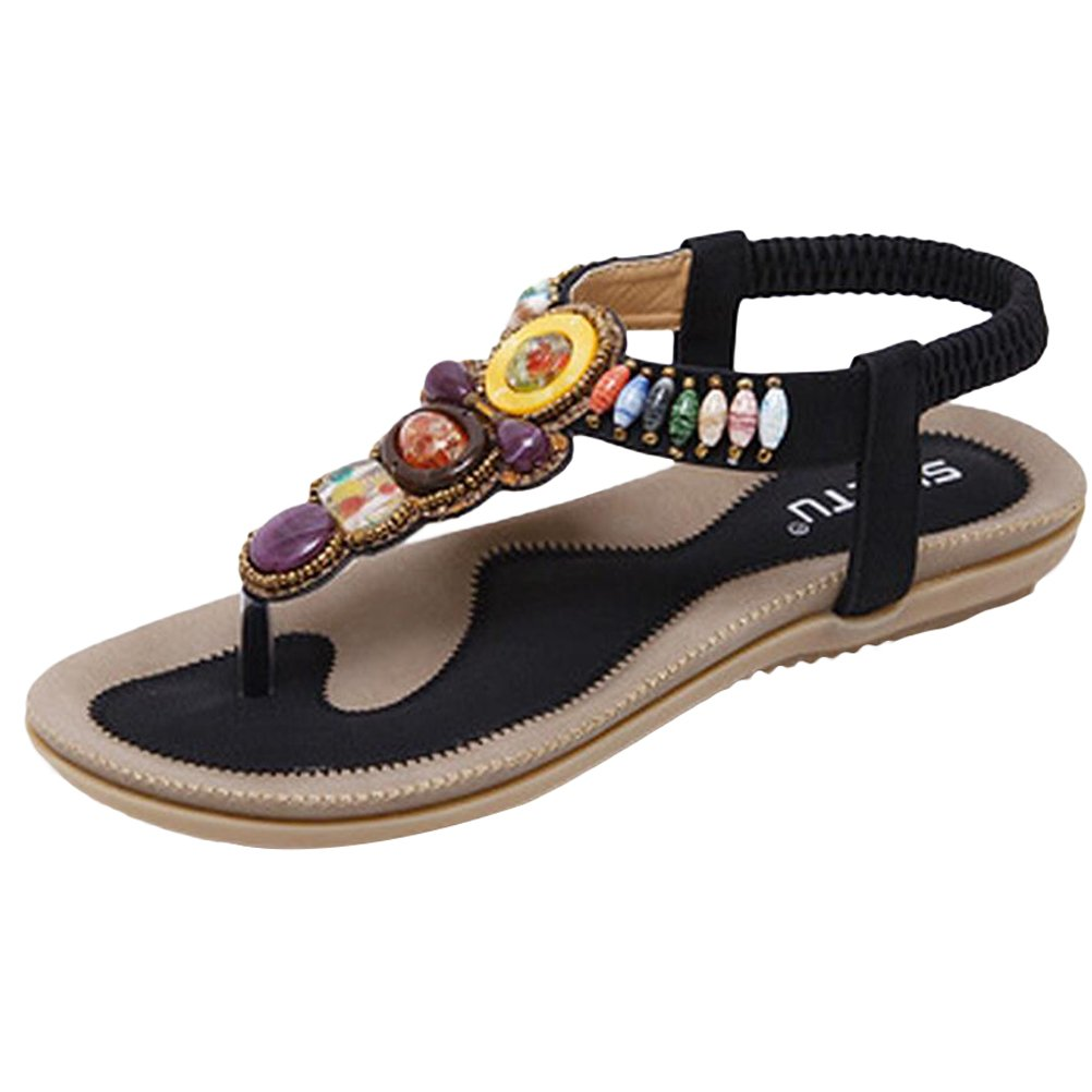 Mordenmiss Women's Beaded Sandals Strappy Bohemian Thong Flat Slippers Style 1 45 Black