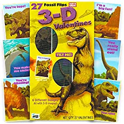 Dinosaur Valentines Day Cards Super Set -- 27 3-D Dinosaurs Valentine Cards for Kids Toddlers (School Classroom Pack)
