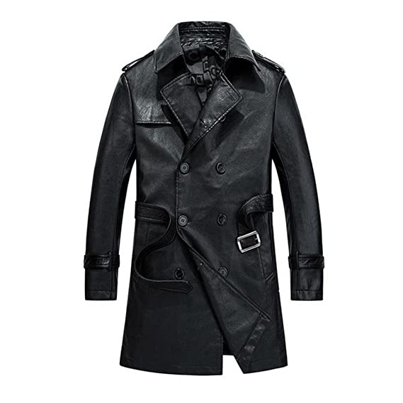 f72599d829a Hzcx Fashion Men s Faux Leather Double Breasted Long Trench Coats With Belt  2016110601-120-