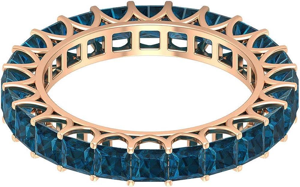 Anillo clásico de eternidad, de topacio azul de 2,6 quilates, anillo de 3 mm, anillo de piedra preciosa de corte princesa, anillo de boda apilable, piedra natal de diciembre, anillo de promesa, oro de