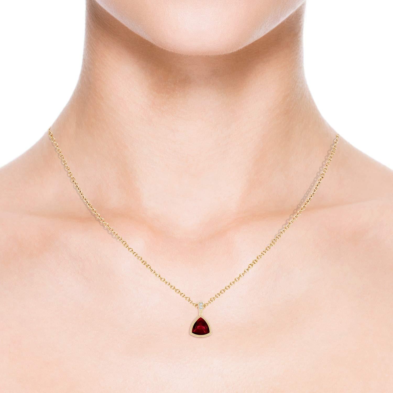 7mm Garnet Bezel-Set Trillion Garnet Pendant with Milgrain