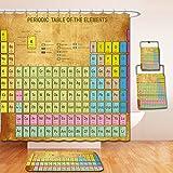 Nalahome Bath Suit: Showercurtain Bathrug Bathtowel Handtowel Periodic Table Chemistry Elements Classroom Geek Science Lovers Vintage Style Print Multicolor