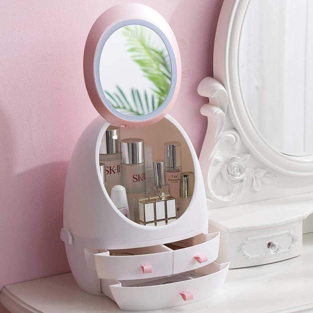 Womdee Dressing Table Desktop Finishing Box,Jewelry and Cosmetic Storage Display Case with LED Lighted Makeup Mirror and 3 Drawers Great for Bathroom and Dresser