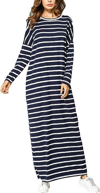 Mujeres Casuales túnica Camisa Vestidos Largos Sleeeve Rayas ...