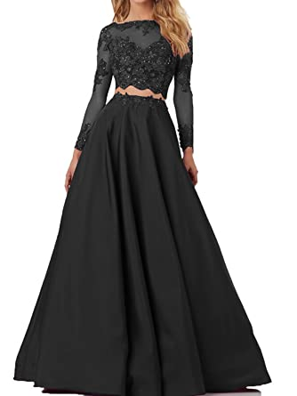 Danadress Womens Satin Lace Two Pieces Prom Dresses Long Sleeves Evening Gowns 76