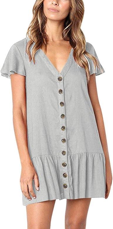 Cebbay T-Shirt /Évas/é /à Manches /Évas/ées pour Femmes Bouton Robe d/Ét/é Maxi Boho Mini-Robe D/écontract/ée /à La Mode Robe Mini Serr/ée /à La Mode