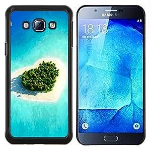KLONGSHOP // Cubierta de piel con cierre a presión Shell trasero duro de goma Protección Caso - Isla del amor del corazón - Samsung Galaxy A8 A8000 //