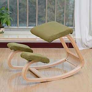 chair Ergonomic Kneeling, Kneeling Rocking Posture Wood Stool for Home Office & Desk Orthopedic Stool Relieving Back and Neck Pain & Improving Posture,Army Green,Colour:Black
