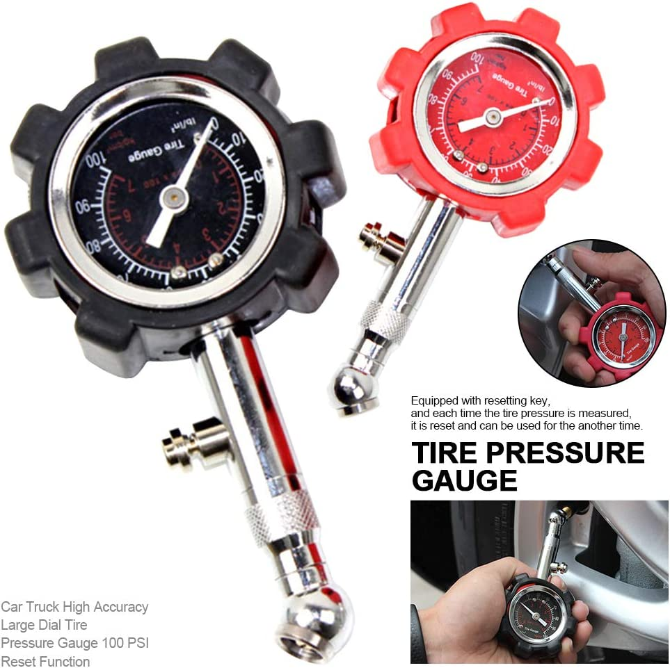 LBS//KBS Tire Pressure Gauge,Heavy Duty Tire Gauge,Car Truck High Accuracy Large Dial Tire Pressure Gauge Red 11.5x6x2cm 100 PSI Reset Function,Black