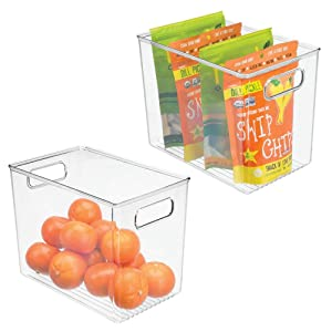 """mDesign Deep Plastic Food Storage Container Bin with Handles - for Kitchen, Pantry, Cabinet, Fridge/Freezer - Slim Organizer for Snacks, Produce, Pasta - 10"""" x 6.5"""" x 8"""" - 2 Pack - Clear"""