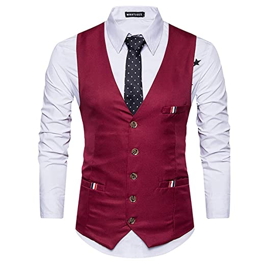 W&TT Chaleco de Traje de Color sólido Vestido Chaleco con ...